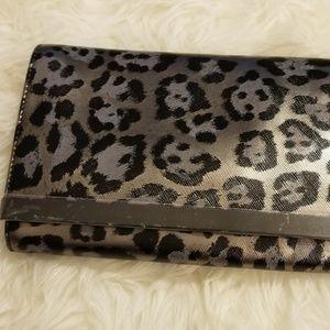 Banana Republic Cheetah Silver Bar Clutch  New